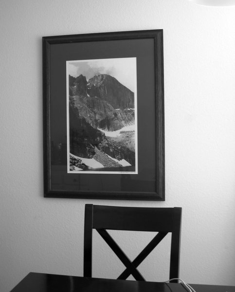 Mmmm, having coffee with Longs Peak.<br> <br> Jonny's picture in the kitchen.