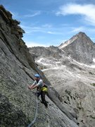 Rock Climbing Photo: Karel traversing out on to the North Ridge route f...