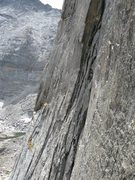 Rock Climbing Photo: Climber on the middle pitches of Syke's, as seen f...