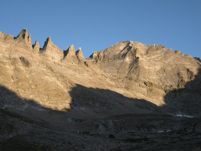 View of the north side of Pagoda and the Keyboards from upper Glacier Gorge.