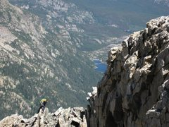 Rock Climbing Photo: Climber approaching the summit after an ascent of ...