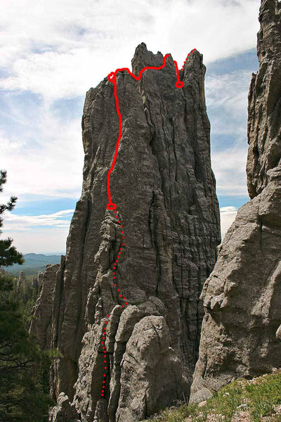 Rock Climbing Photo: Dotted line indicates 4th class scramble.