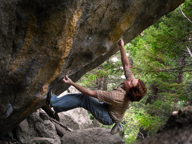 """Luke Childers working the classic power line """"Midnight Express.""""  Boulder Canyon, Colorado."""