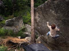 Rock Climbing Photo: Luke Childers still working for the huge toss on &...