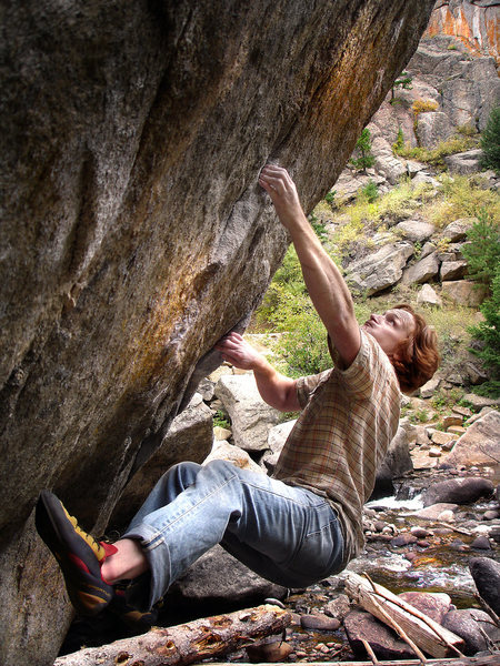 "Luke Childers setting up for the huge toss on ""Cage Free-V11."""
