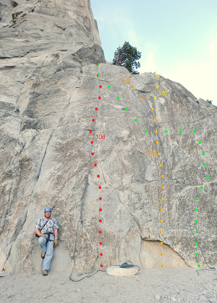 To the right of Pine Line (5.7) are a few excellent top-ropes:<br> <br> Red: 5.10d<br> Orange: 5.11a<br> Yellow: 5.11b<br> Green: 5.9+