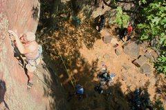 Rock Climbing Photo: Protecting the crux