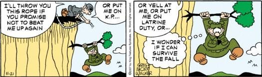 Climbing with Beetle Bailey.