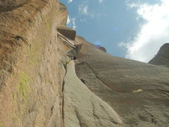 Rock Climbing Photo: Amy Haessly on P1 of Center Route.