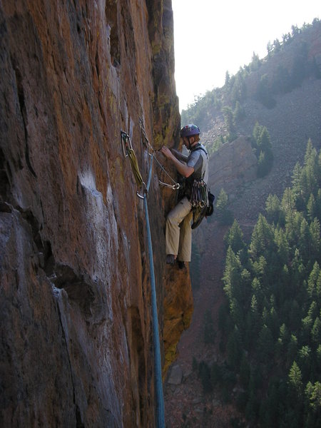 BrianB on the Rosy traverse.  I could just reach to clip the 1st bolt...whew.  Swapped leads with Bill Farrand.  Nice route!
