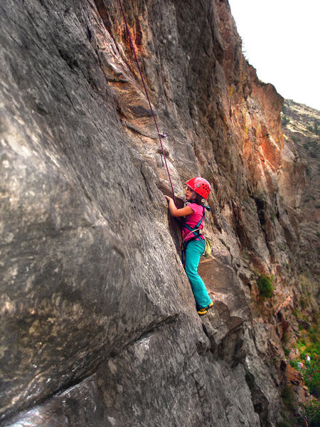 "Mazzi Childers on her new favorite climb ""First Impressions-(5.9+)"" on the Little Eiger.  Clear Creek Canyon, Colorado."