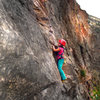 "Mazzi Childers on her new favorite climb, ""First Impressions-(5.9+).""  The Little Eiger.  Clear Creek Canyon, Colorado."