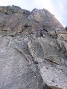 Rock Climbing Photo: Going up first pitch of the steep wall.