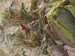 Rock Climbing Photo: Pete on the lower crux of Coup de' tat