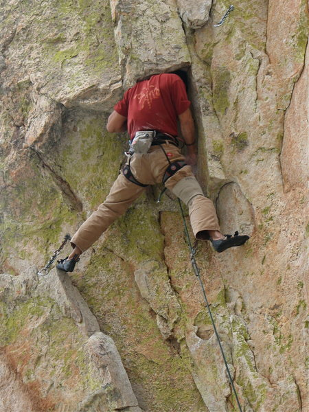 Rock Climbing Photo: Pete head jammed on Coup de' tat