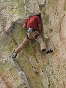 Rock Climbing Photo: Pete head jammed on Coup de' tat