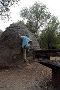 Rock Climbing Photo: Michael McKay starting Gorehound (V0+), on the Bar...