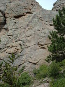 Rock Climbing Photo: The route follows the right side of the low-angle ...