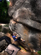 Rock Climbing Photo: Nathan Fox setting up for a more direct and certai...