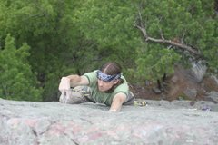 Rock Climbing Photo: John K channeling the 70's and the perhaps the DLF...