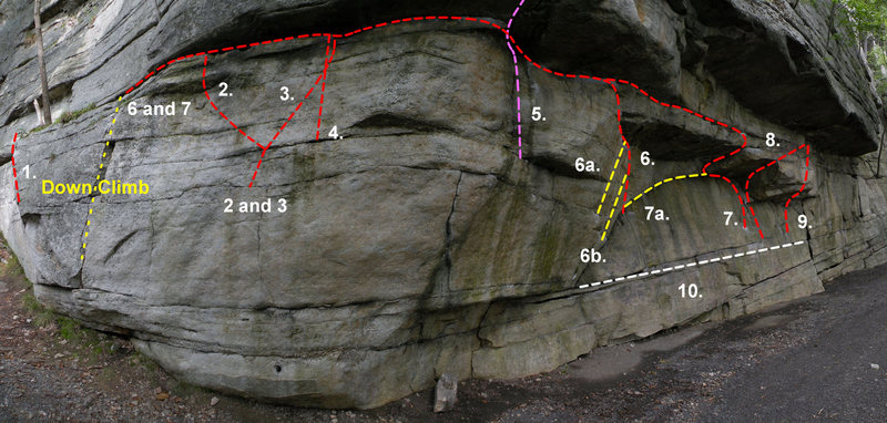 The left side of Doug's Roof: 1. The Dark Bulge (V0), 2. Blasting Hole Problem Left (V1), 3. Blasting Hole Problem Right (V2), 4. Larsen's Leap (V1), 5. Gill's Double Clutch (V4), 6. Middle Traverse (V1), 6a. Middle Traverse Variation 1 (V1), 6b. Middle Traverse Variation 2 (V1), 7. High Traverse (V4),   7a. High Traverse Variation 1 (V4), 8. Left Bulge (V2), 9. Direct Bulge (V6), 10. Low Traverse (V0)