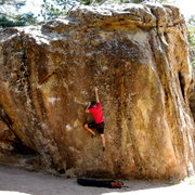 Rock Climbing Photo: Ben working on Happy Hunting Grounds; it continues...