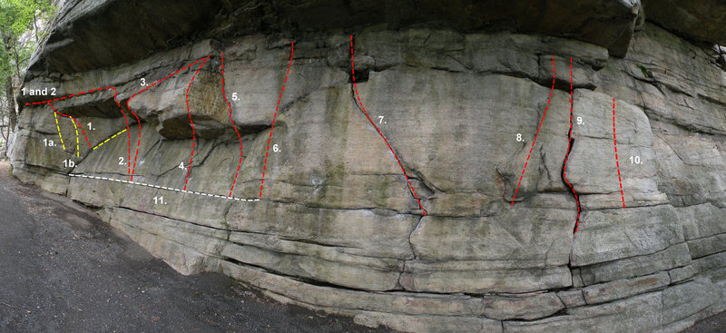 Rock Climbing Photo: The right side of Doug's Roof: 1. Middle Traverse ...