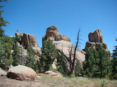 Rock Climbing Photo: Chair Rocks Crag (high point is middle rock aka Th...