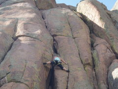 Rock Climbing Photo: Amy Haessly on the 1st pitch of Turkey Shoot.