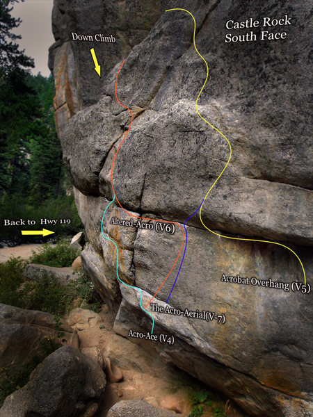"Photo beta for ""The Acro-Ace"" problem located on the ""Castle Rock"" formations south side.  In the photo beta follow the torques colored line."