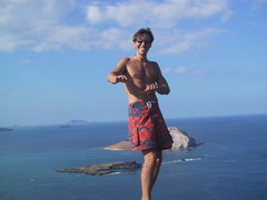 Above the beautifully positioned routes at Makapuu. Oahu, HI.