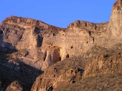 Rock Climbing Photo: Panorama photo showing the Bat Cave, Walls left of...