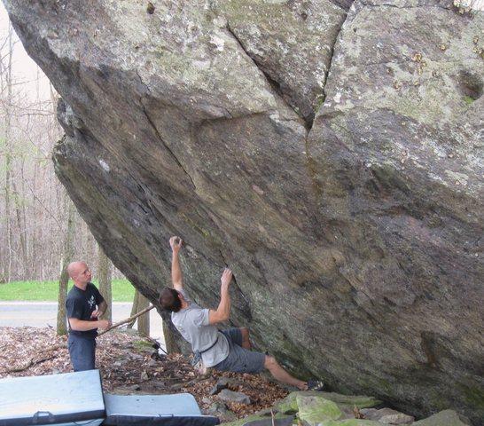 "Shane Messer on ""True Grit"" (V-5) at the ""Contact Station Boulders"", Grayson Highlands State Park VA"