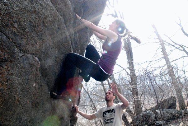 """Rock Climbing Photo: Sarene Cullen climbing """"Ranger Rick"""" (V-..."""