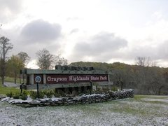 Rock Climbing Photo: a snowy park welcome sign