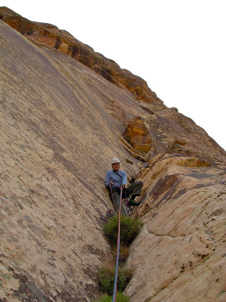 Maurice Horn belaying about half way up The Sidewinder.