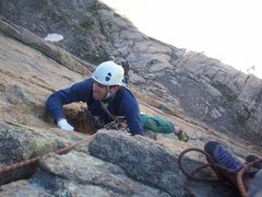 Rock Climbing Photo: Bobby Lowe on the first pitch of the Forrest Finis...