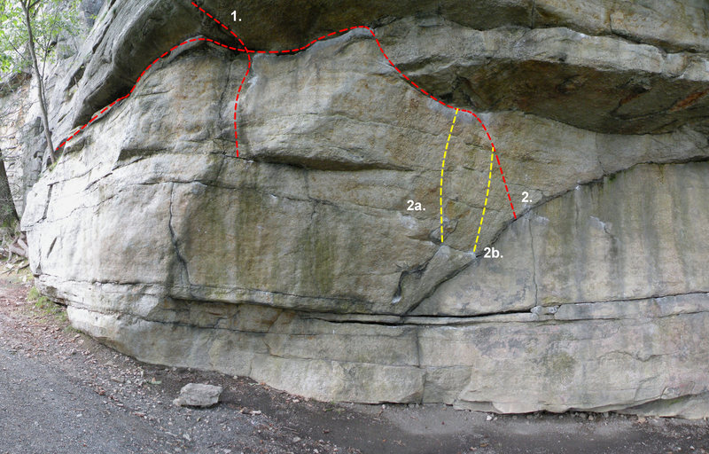 The center of Doug's Roof: 1. Gill's Double Clutch (V4), 2. Middle Traverse (V1), 2a. Middle Traverse Variation 1 (V1), 2b. Middle Traverse Variation 2 (V1)