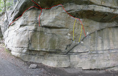 Rock Climbing Photo: The center of Doug's Roof: 1. Gill's Double Clutch...