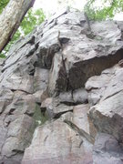 """Rock Climbing Photo: """"May Fly"""" climbs to the niche and then u..."""