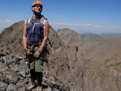 Rock Climbing Photo: Atop the Crestone needle, in all my unabashed and ...
