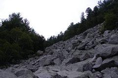 Rock Climbing Photo: The Slant boulder field from below.