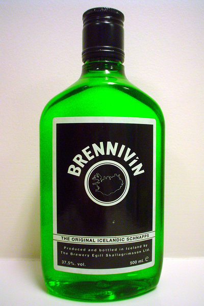 "AKA the ""Black Death"". 37.5% ABV, Icelandic schnapps. Black label was designed to actually discourage people from drinking it. Brennivin literally translates to ""burning wine"" (Wiki)."