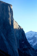 Rock Climbing Photo: Morning light on El Cap, on a cold February mornin...