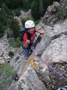 Lil' Man works his way to the top of his first multi-pitch! :)