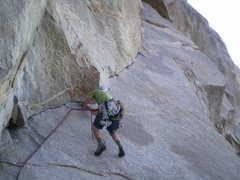 Rock Climbing Photo: Monsieur Rousseau leading out on crux.  Where's th...