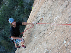 Rock Climbing Photo: Mike Diesen getting ready to clean the traveling b...