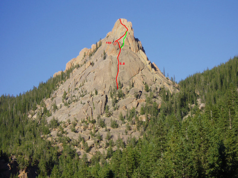 The route we took in red with the green line suggested to avoid the rappel.