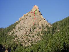 Rock Climbing Photo: The route we took in red with the green line sugge...