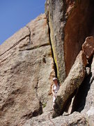 Rock Climbing Photo: Laura at the end of the second pitch ledge. The wi...